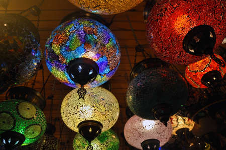 Turkish colorful lamps at the big bazaar. Stock Photo
