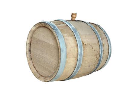 Fût de chêne neuf avec vin jeune. Isoler sur un fond blanc. Vinification et brassage maison