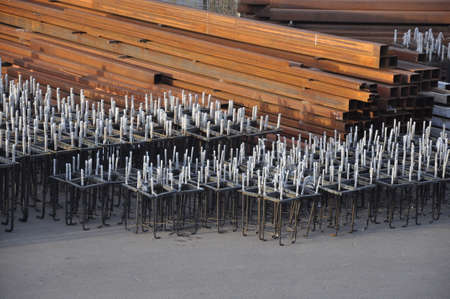Steel anchor blocks and business metal at the warehouse of the enterprise. Industry Imagens
