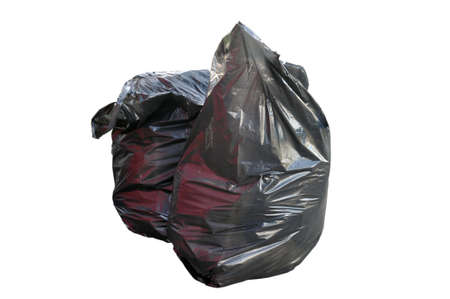 Full trash bags on a white