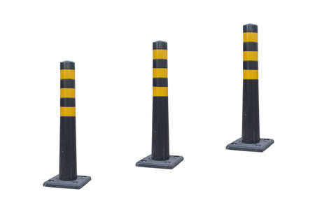 Road columns in a row in a row Isolated on a white background. Road safety