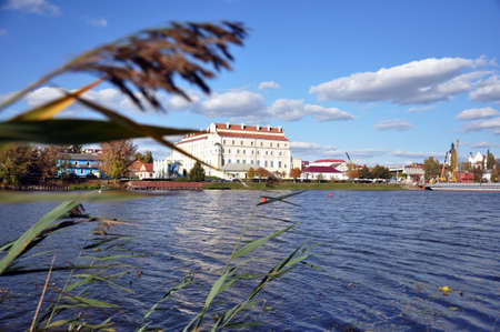 Views of the city of Pinsk, Republic of Belarus. The Jesuit College from the Pina River, overgrown with reeds. Scenery