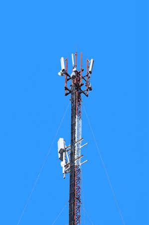 Telecommunication tower. Digital wireless communication system. Basic station mobile phone. 5G of the smart antenna of a basic radiotelephone.