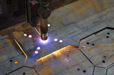 Metal cutting. The process of cutting metal using plasma cutting. Industry
