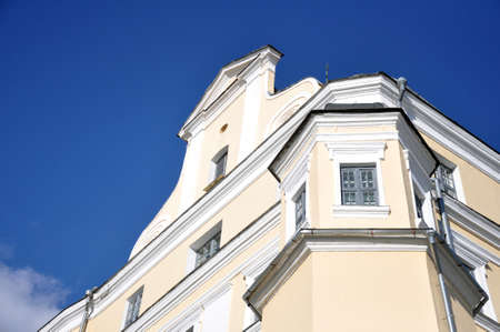 Belarusian medieval architecture, baroque style. Pediment, buttress, arch Pinsk City Jesuit College 스톡 콘텐츠