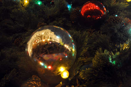 New Years and Christmas. Christmas tree decorations. Cosmos theme.