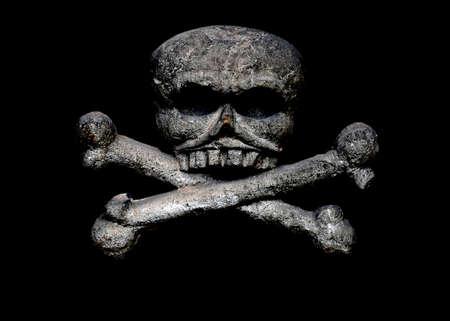 Skull and crossbones on a black