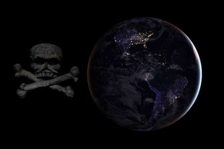 Skull and crossbones on the background of the planet earth. Doomsday concept. Elements provided by NASA.