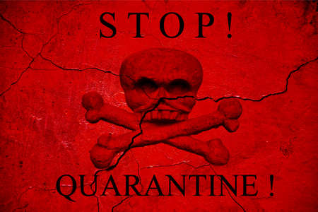 quarantine warning banner on old healed wall. The concept of coronavirus in China
