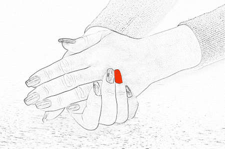 Hands with red manicure on a white background. Beauty and Fashion. illustration