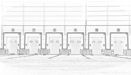Large distribution warehouse with gates for loading goods. Sketch, project
