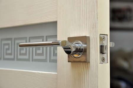 Modern style doorknob on a wooden door.