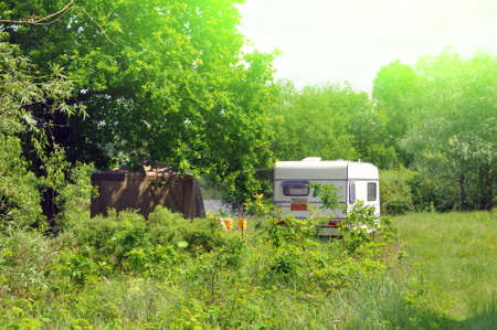 Family vacation travel RV. Caravan car Vacation. Beautiful nature of eastern Europe. Polesie Banque d'images