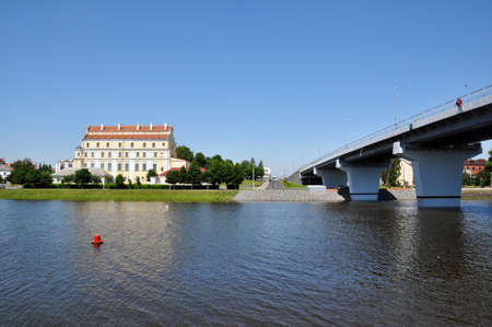 New automobile bridge over the Pina River in the city of Pinsk, Belarus