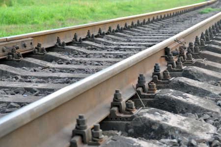 Railway. Elements of the device of the railway track. Banque d'images