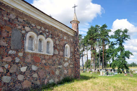 Neo-Gothic style chapel in an old Catholic cemetery. Kossovo, Belarus