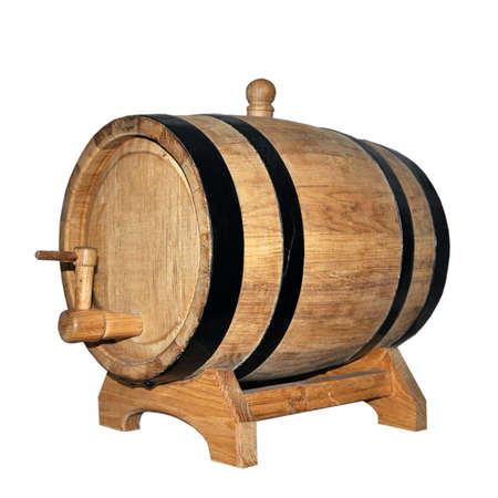 Wood barrel for aging alcoholic beverages isolated on white background