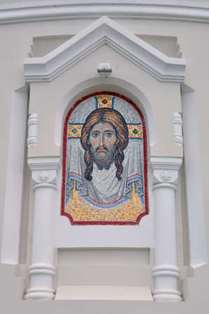 Brest, Belarus - July 23, 2020: The icon of Christ the Savior, laid out in mosaics on the facade of the church of the Brest Fortress.