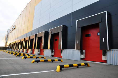 Loading docks of a modern logistics complex, front view. Stock Photo