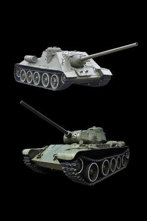 Soviet medium tank and self-propelled gun. Isolate on black background.