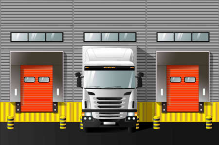 Unloading trucks at a modern warehouse complex. Vector graphics