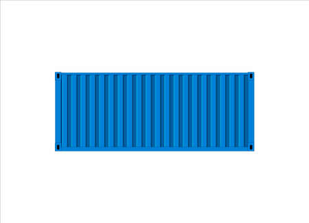 Shipping container, blue images. Vector flat illustration Ilustracja