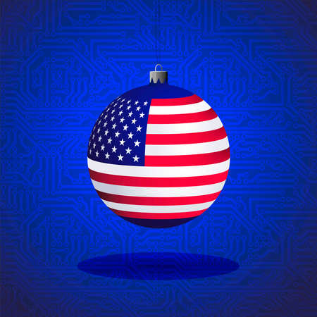 Christmas ball with the flag of the USA - the great IT country, against the background of the circuit board. Vector illustration