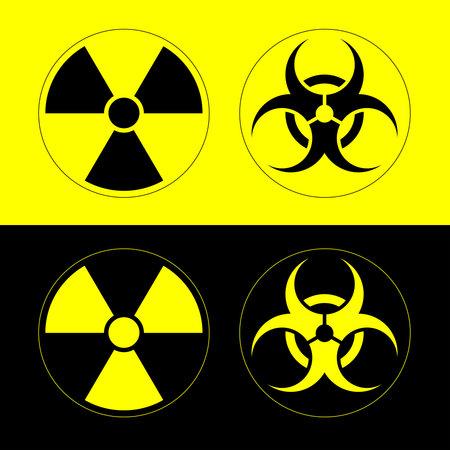 Radiation hazard sign, bio hazard sign on yellow and black backgrounds. Vector illustration options.