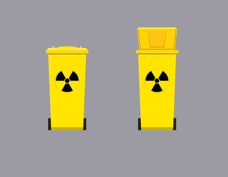 Tank for collecting radioactive waste. Radioactive disgrace sign. Flat vector illustration