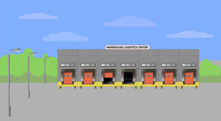 Warehouse logistics center. Delivery of goods by road. Vector flat illustration Ilustrace
