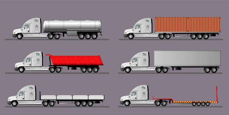 A set of images of American truck.