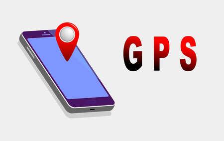 GPS navigation isometric mobile concept.