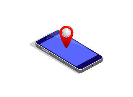 GPS navigation isometric mobile concept. Vector illustration. Illustration