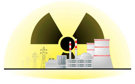 Nuclear power plant against the background of the radiation hazard sign. Nuclear power hazard concept. Vector flat illustration