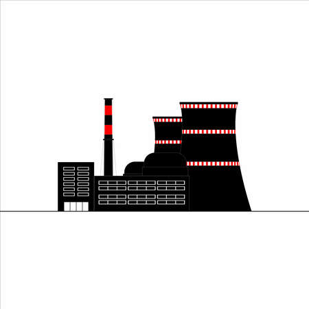 Nuclear power plant icon. Energy. Vector flat illustration