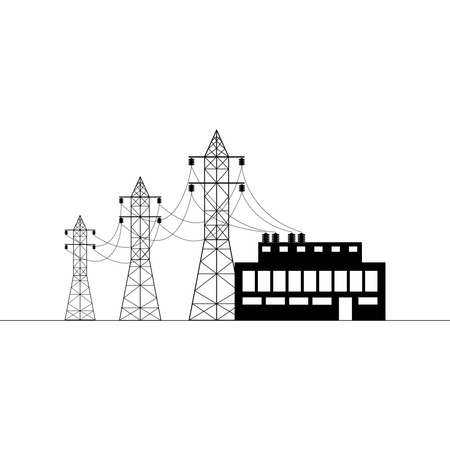 Overhead power line, transformer substation. Electricity transmission and supply. Flat vector illustration. Illustration