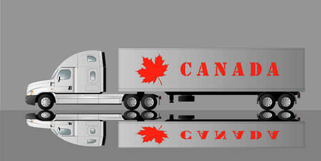 American car for transporting goods with the image of a maple leaf and the inscription Canada. Vector flat illustration.