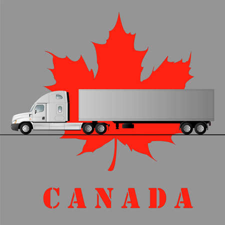 American car for the transport of goods against the background of a maple leaf and the inscription Canada. Vector flat illustration.