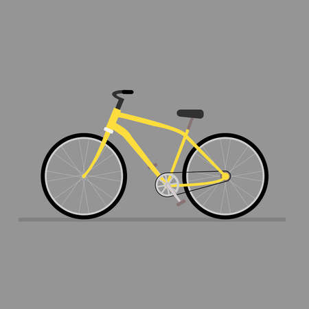 Yellow city bike on a gray background.