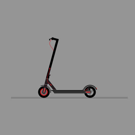 Black electric scooter on a gray background. Ilustrace