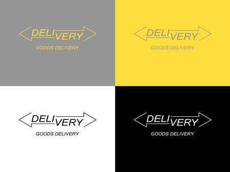 Logistics company logo design options. Arrow icon. Delivery service logo. Vector flat illustration.