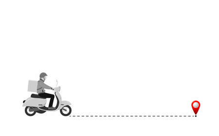 Goods delivery. Express delivery by courier, carrier on a scooter and along the route of parcels to the final point. Vector flat illustration. Illustration