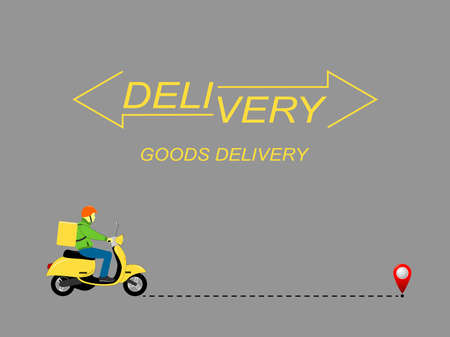Delivery of goods. Urgent delivery by courier, carrier on a scooter and along the route of the parcel. Company logo. Vector flat illustration.