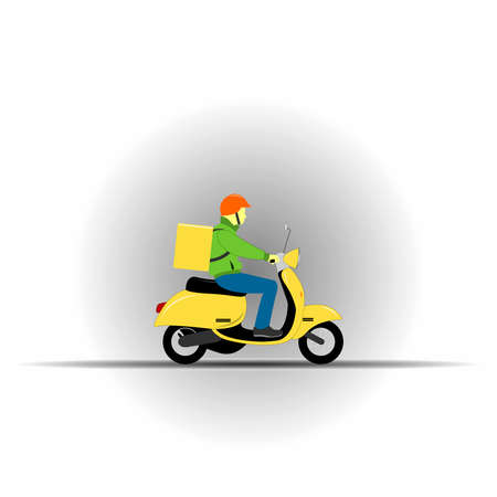 Courier ride scooter motorcycle with box. Food delivery service concept. Flat style illustration.