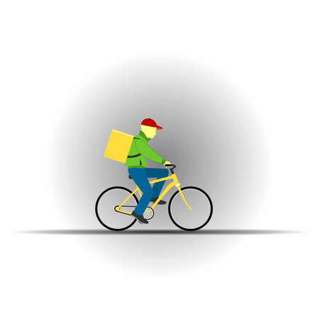 Courier delivering goods on a bicycle. Food delivery service concept. Flat illustration.