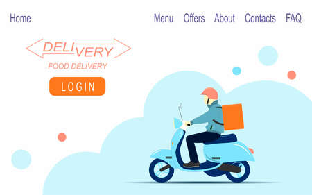 Daily food delivery on a scooter. Web banner design. Vector flat illustration.
