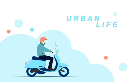 Man on a blue sarino scooter in the city. City life. Vector flat illustration.