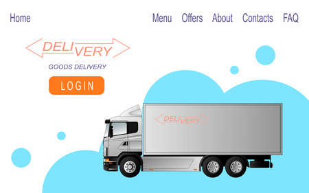 Fast delivery of bulky goods. Web banner design. Vector flat illustration. Ilustrace