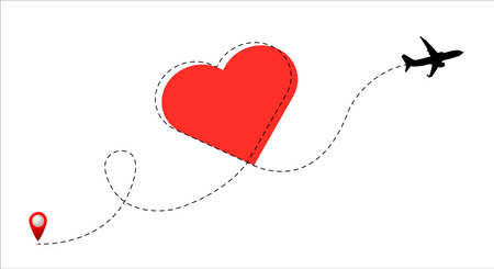 Airplane path line with red heart Illustration