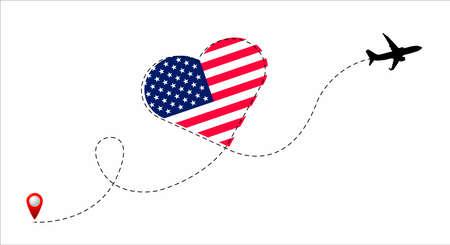 USA flag inside the heart.